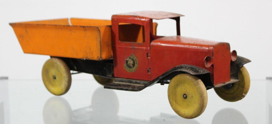 Antique WYANDOTTE PRESSED STEEL DUMP TRUCK Red Orange - 2