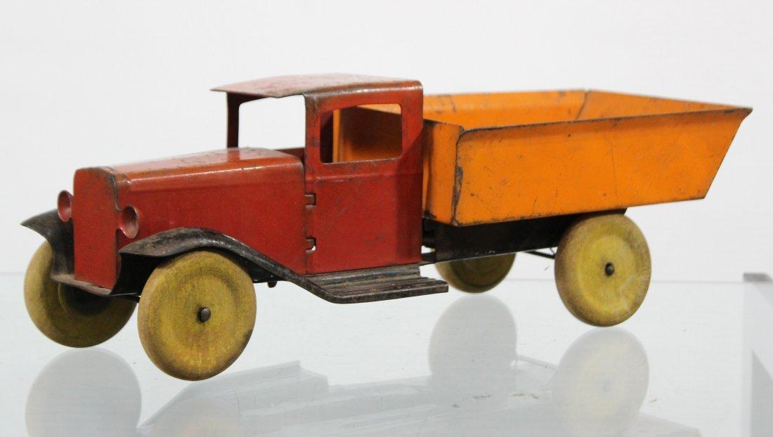 Antique WYANDOTTE PRESSED STEEL DUMP TRUCK Red Orange - 3