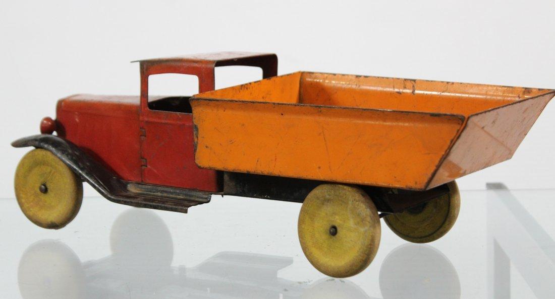 Antique WYANDOTTE PRESSED STEEL DUMP TRUCK Red Orange - 4