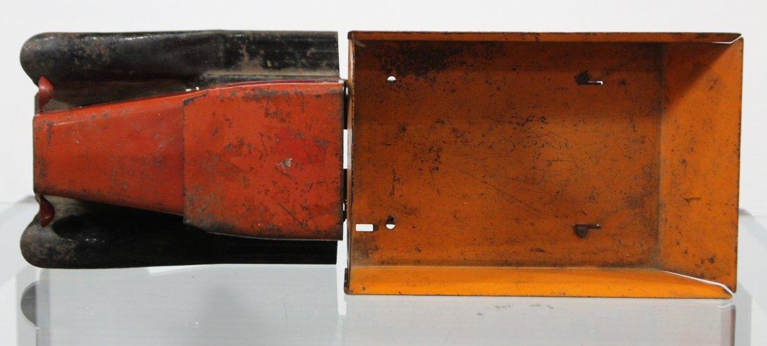 Antique WYANDOTTE PRESSED STEEL DUMP TRUCK Red Orange - 5