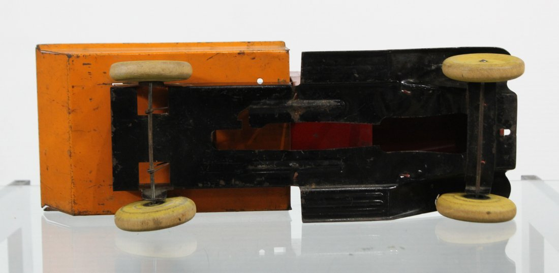 Antique WYANDOTTE PRESSED STEEL DUMP TRUCK Red Orange - 6