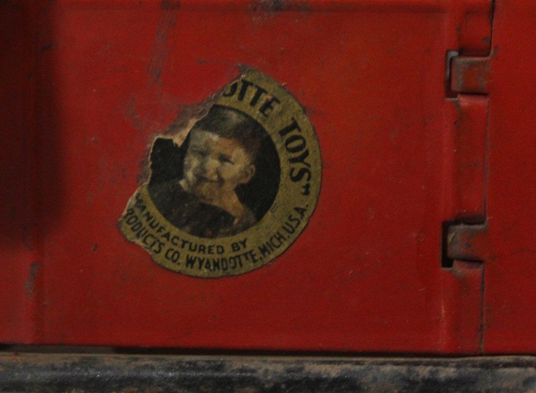 Antique WYANDOTTE PRESSED STEEL DUMP TRUCK Red Orange - 7