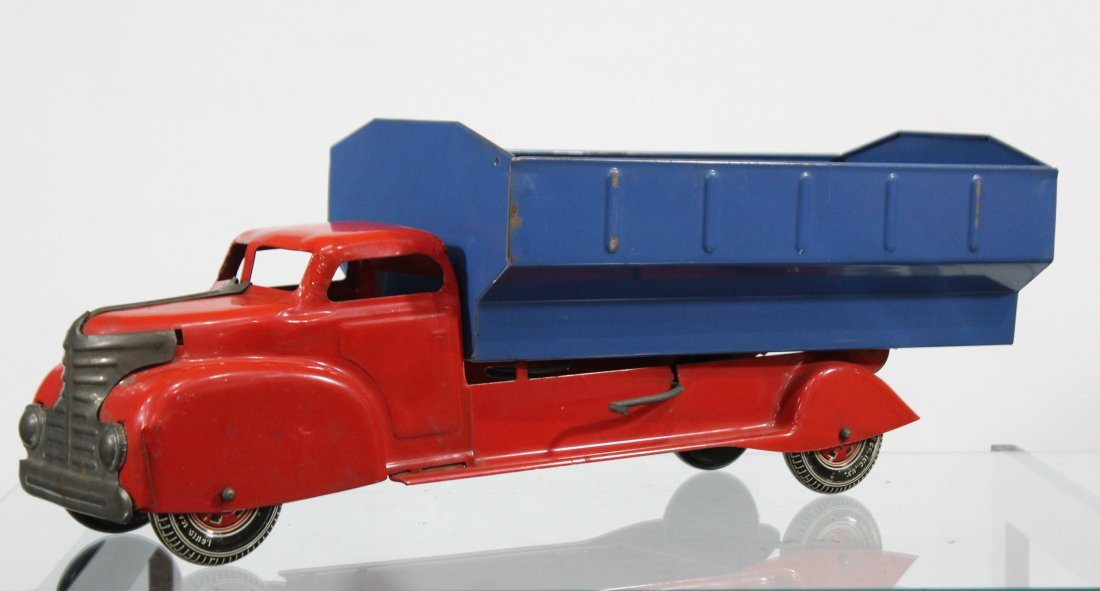 Antique LOUIS MARX PRESSED STEEL DUMP TRUCK Red Blue