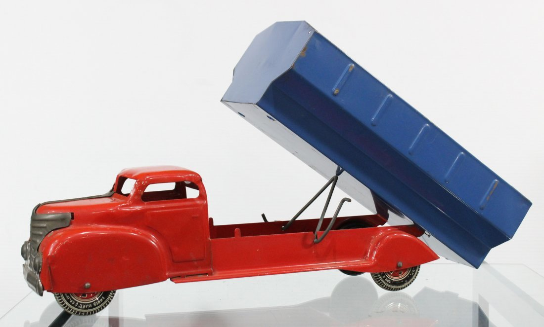 Antique LOUIS MARX PRESSED STEEL DUMP TRUCK Red Blue - 2
