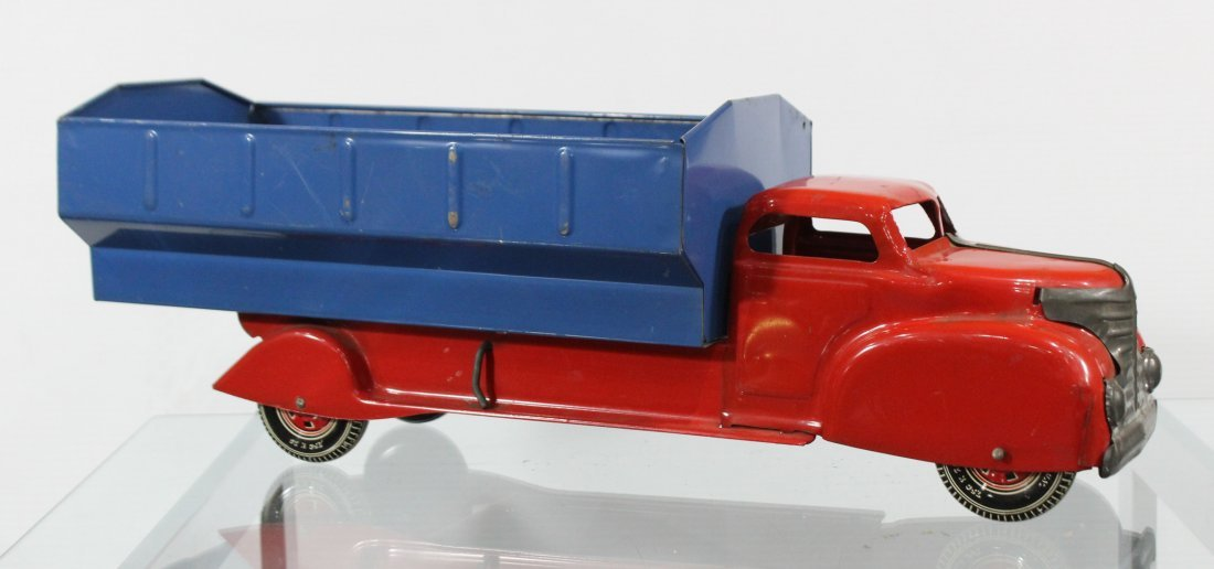 Antique LOUIS MARX PRESSED STEEL DUMP TRUCK Red Blue - 3