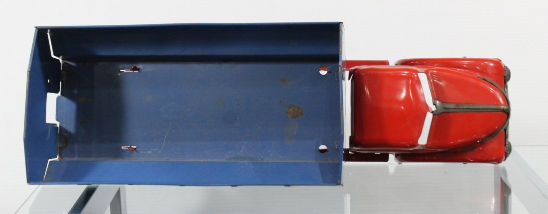 Antique LOUIS MARX PRESSED STEEL DUMP TRUCK Red Blue - 5