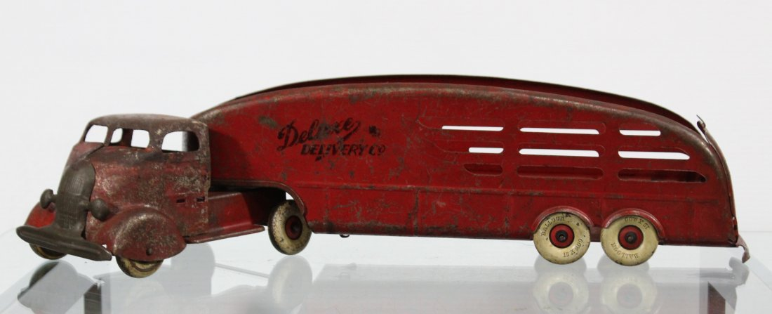 Antique PRESSED STEEL DELUXE DELIVERY CAR CARRIER Red