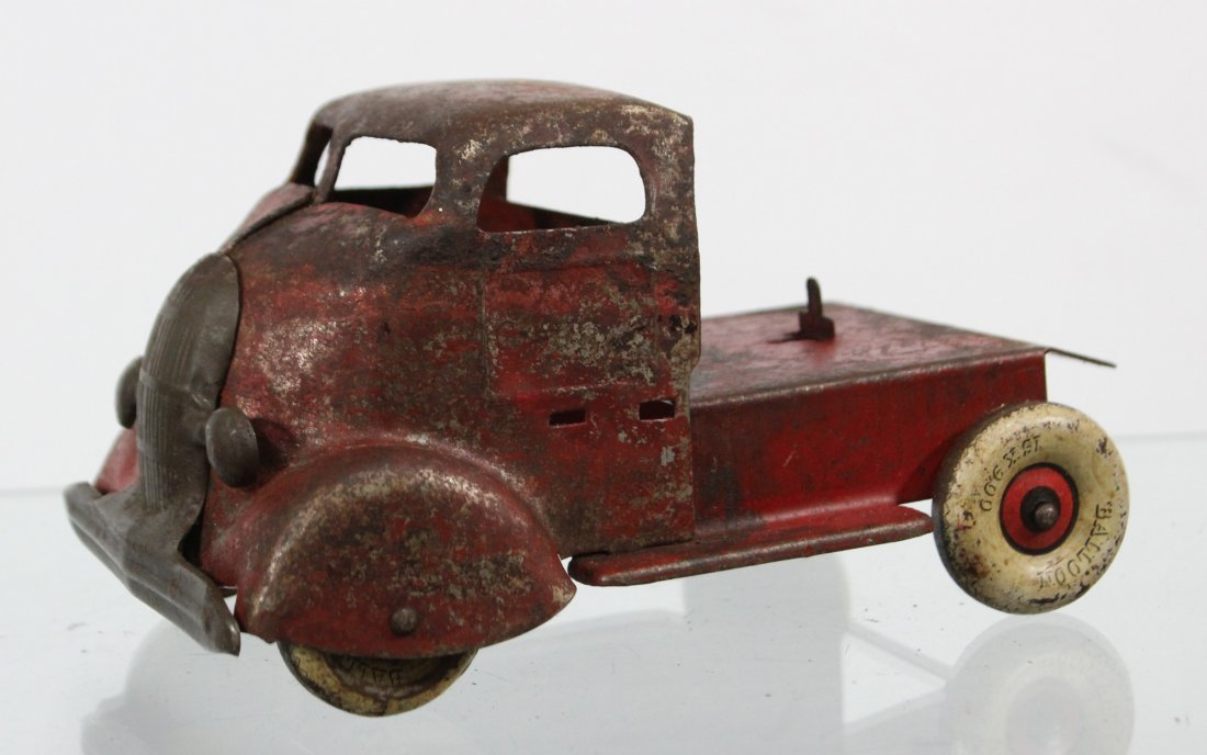 Antique PRESSED STEEL DELUXE DELIVERY CAR CARRIER Red - 2
