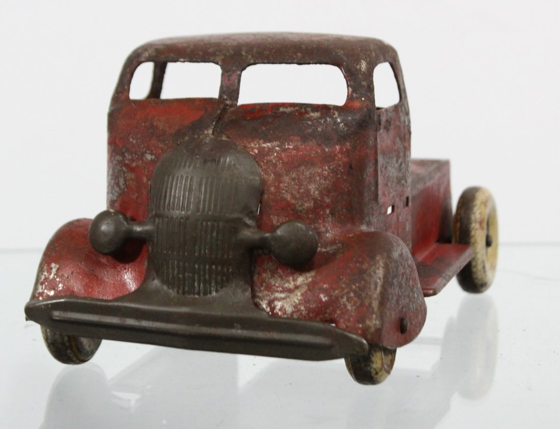 Antique PRESSED STEEL DELUXE DELIVERY CAR CARRIER Red - 3
