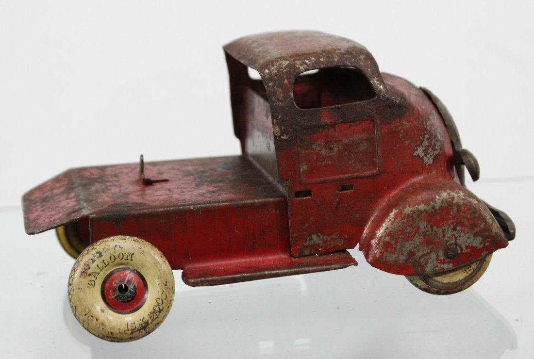 Antique PRESSED STEEL DELUXE DELIVERY CAR CARRIER Red - 4