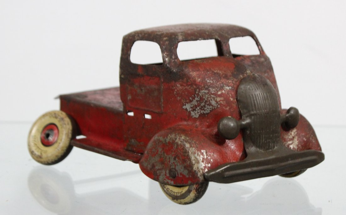 Antique PRESSED STEEL DELUXE DELIVERY CAR CARRIER Red - 5