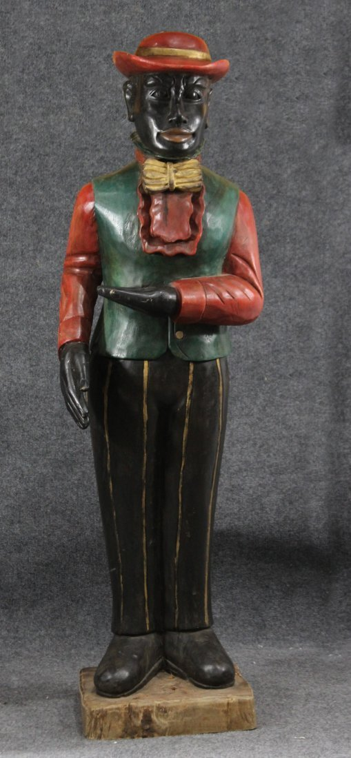 CARVED WOOD NEGRO BLACK BOY BUTLER ORIGINAL PAINT