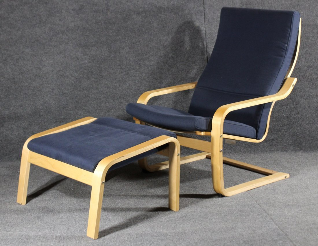 Alvar Alto style  POANG CHAIR AND MATCHING OTTOMAN