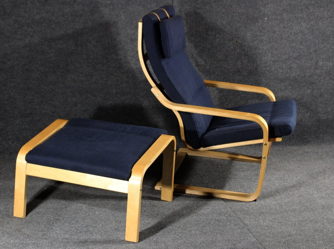 Alvar Alto style  POANG CHAIR AND MATCHING OTTOMAN - 2