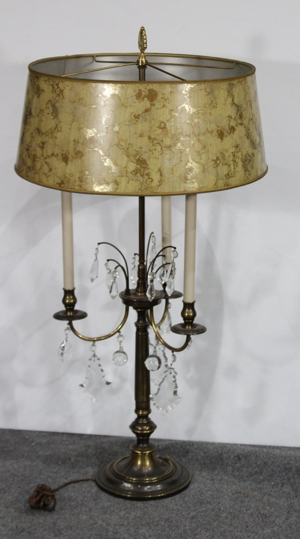 Quality STIFFEL Brass Table Lamp With Prisms