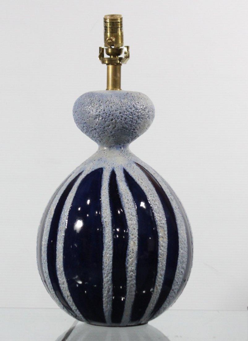 Mid Century Design BULBOUS BLUE CERAMIC TABLE LAMP