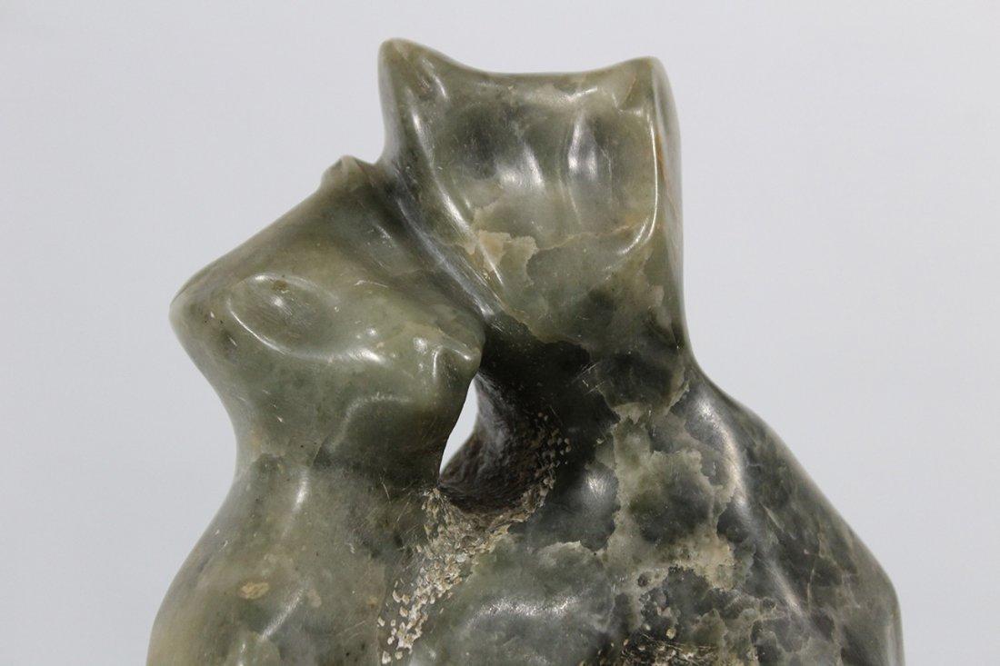MID CENTURY MODERN MARBLE CATS SCULPTURE - 3