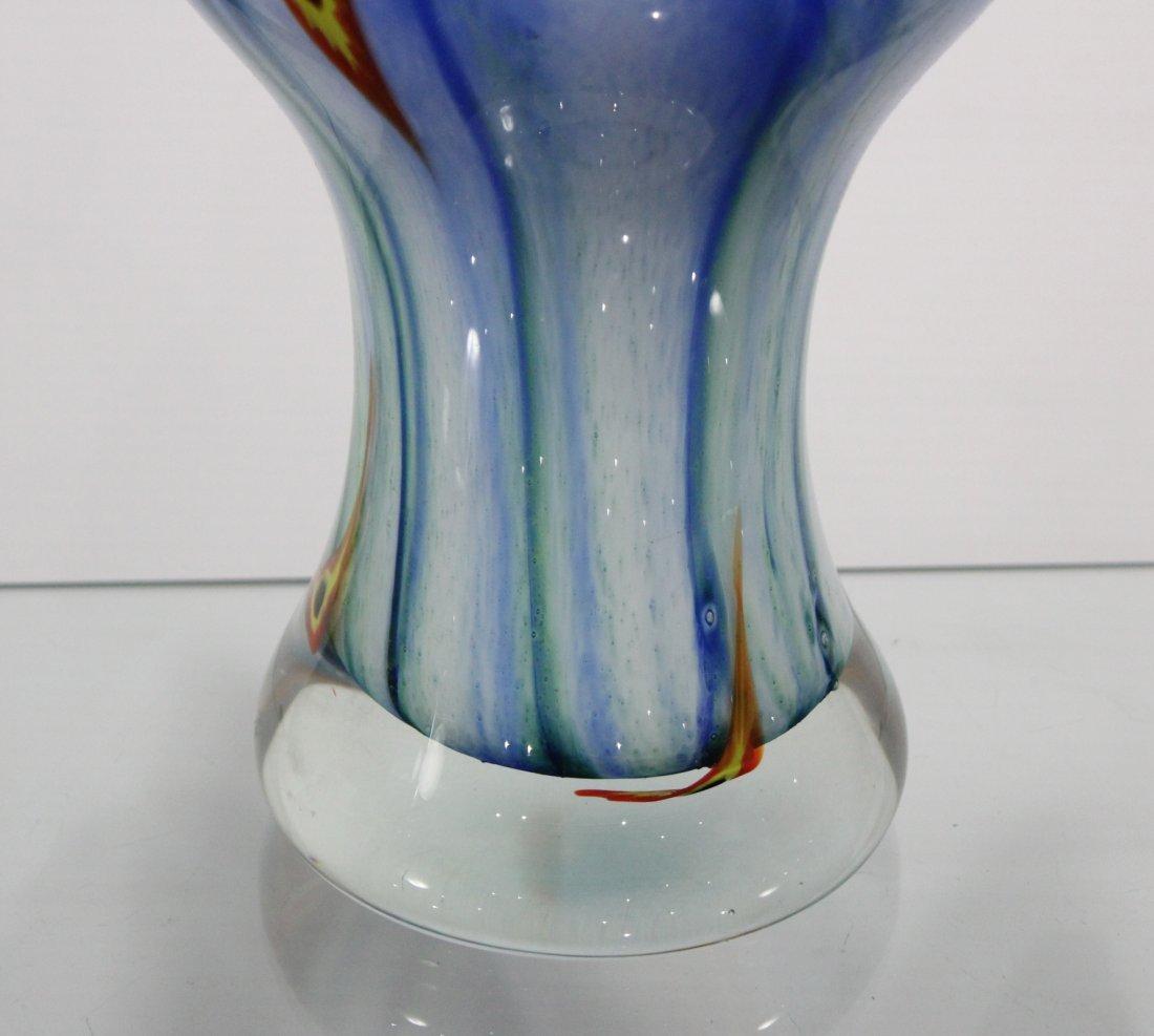 Mid Century Italian Murano Art Glass Vase Blue White - 3