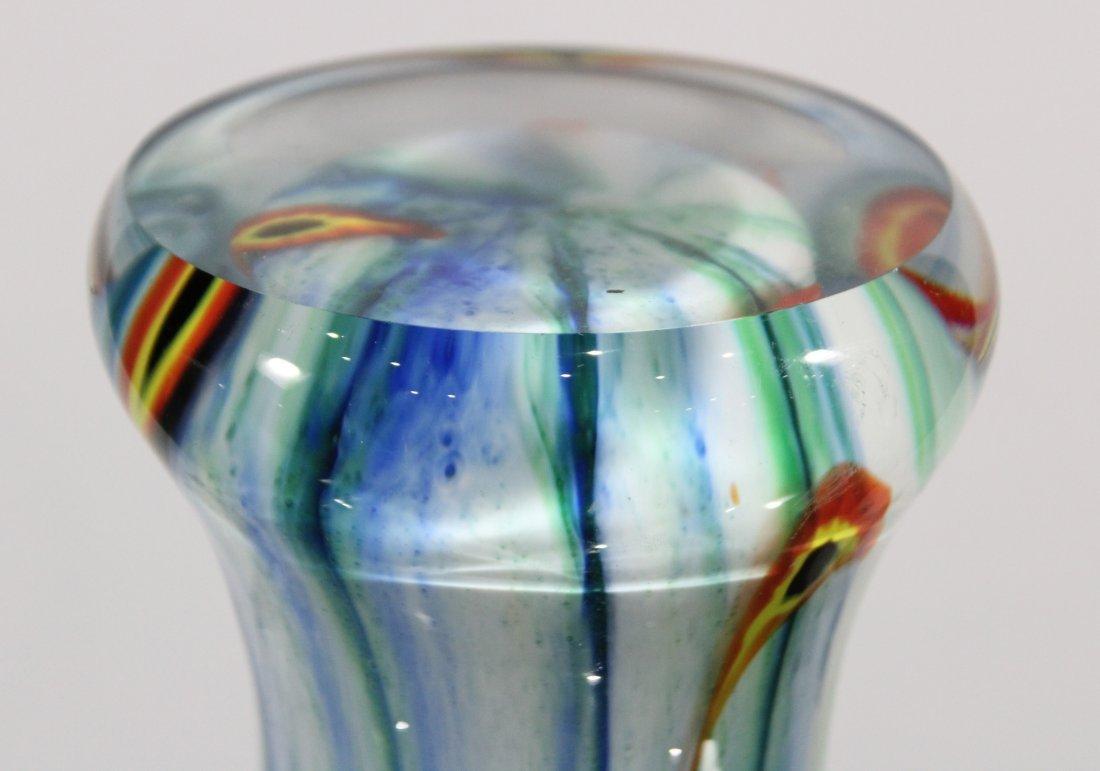 Mid Century Italian Murano Art Glass Vase Blue White - 4