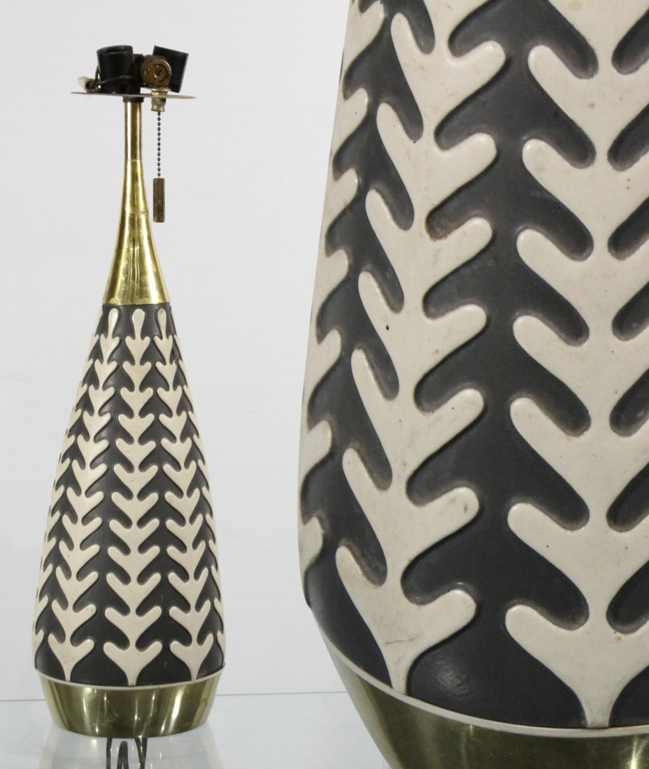 Mid Century Black And White Ceramic Cone Table Lamp