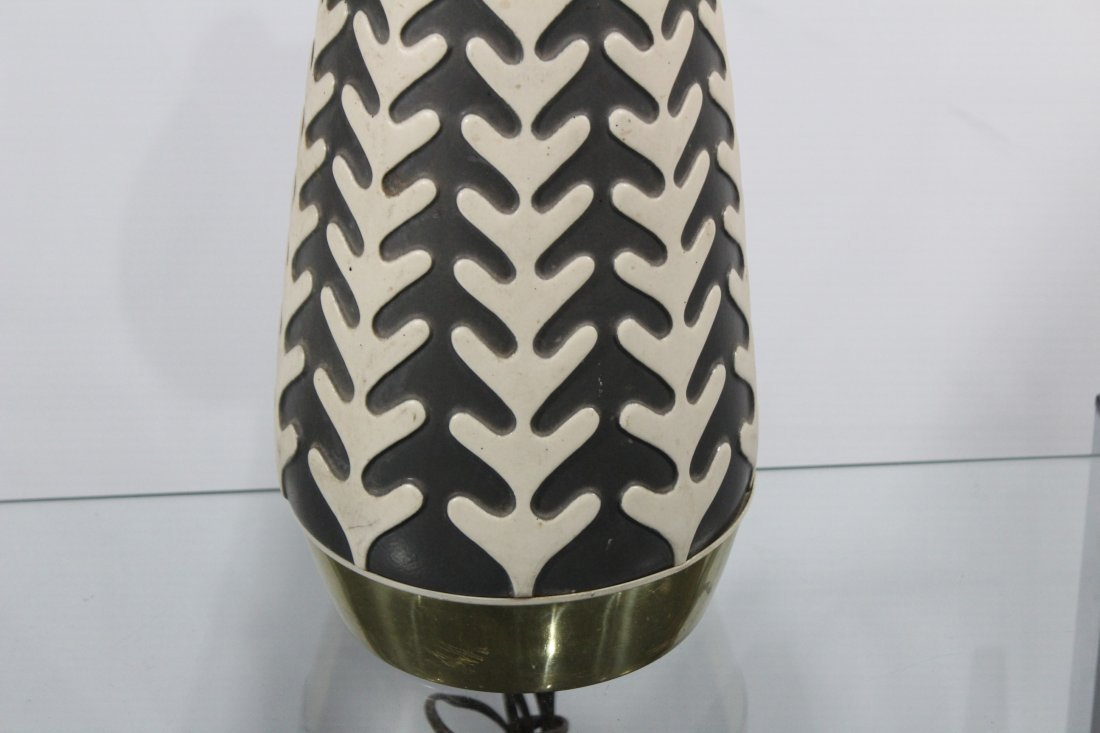 Mid Century Black And White Ceramic Cone Table Lamp - 2