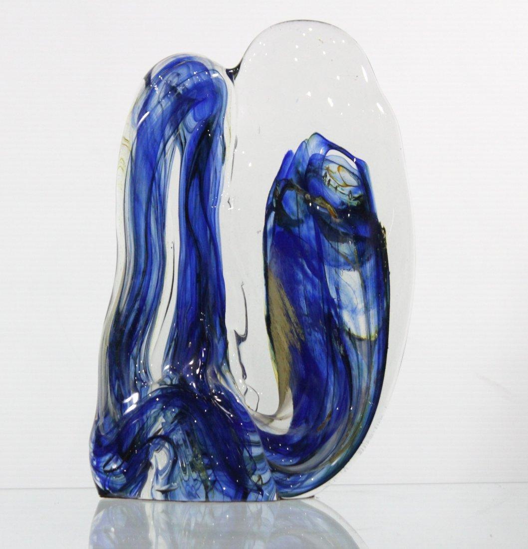Fabulous Signed STUDIO ART GLASS SCULPTURE BLUE