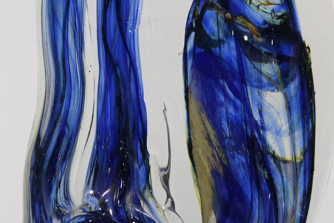 Fabulous Signed STUDIO ART GLASS SCULPTURE BLUE - 3