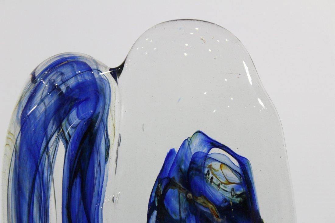 Fabulous Signed STUDIO ART GLASS SCULPTURE BLUE - 4