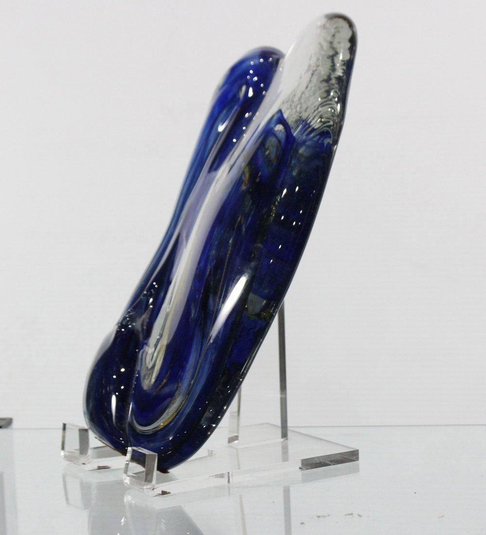 Fabulous Signed STUDIO ART GLASS SCULPTURE BLUE - 8