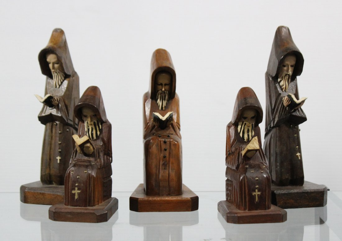 Five [5] Mid Century CARVED WOODEN MONK FIGURES