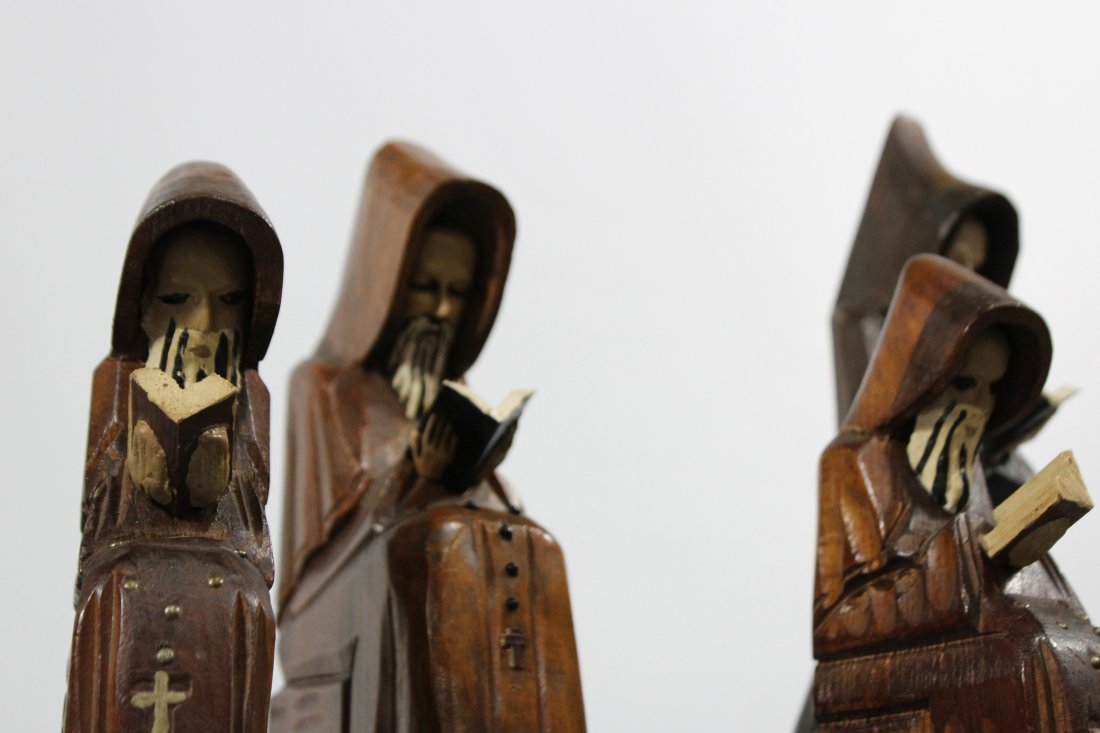 Five [5] Mid Century CARVED WOODEN MONK FIGURES - 2