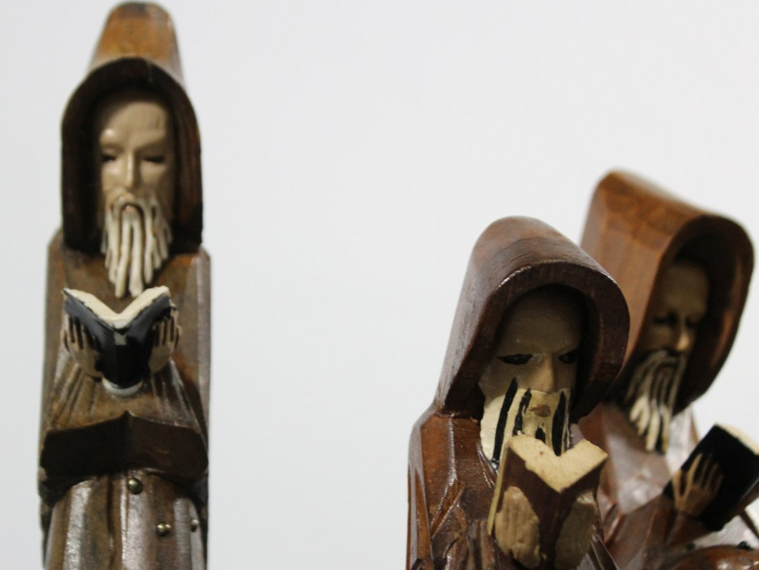 Five [5] Mid Century CARVED WOODEN MONK FIGURES - 3
