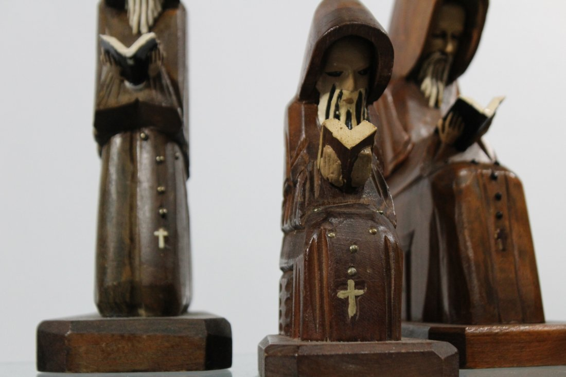 Five [5] Mid Century CARVED WOODEN MONK FIGURES - 4
