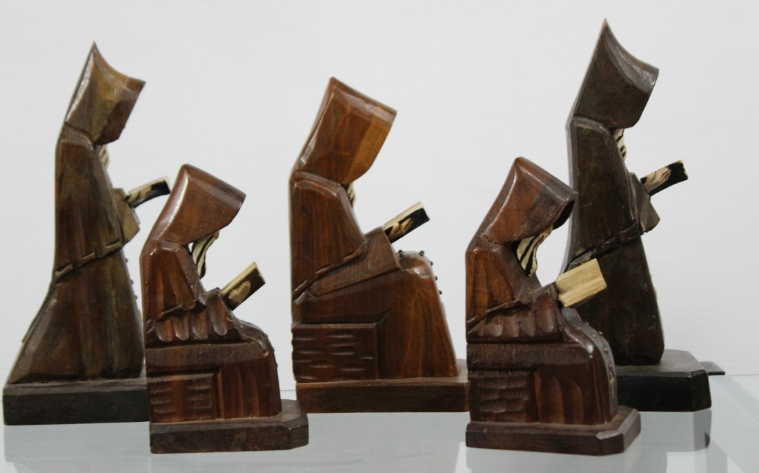 Five [5] Mid Century CARVED WOODEN MONK FIGURES - 5