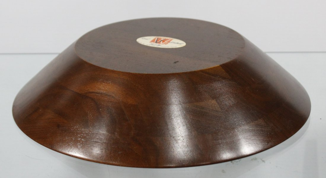 Mid Century VERMILLION POLISHED WALNUT NUT BOWL - 4