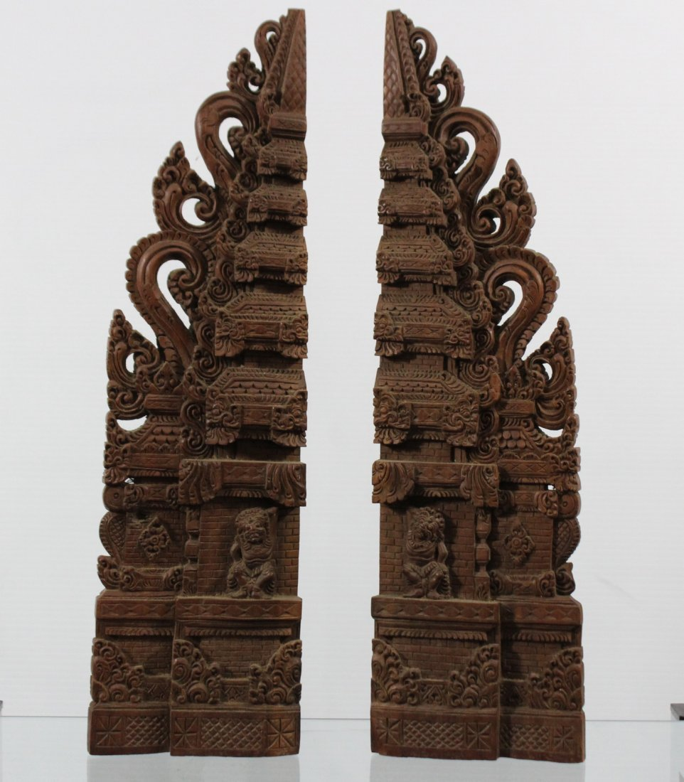 Two Heavy Intricately Carved Teak Wood Tall Elements