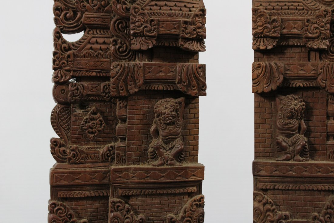 Two Heavy Intricately Carved Teak Wood Tall Elements - 2