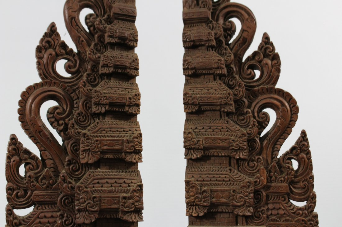Two Heavy Intricately Carved Teak Wood Tall Elements - 3