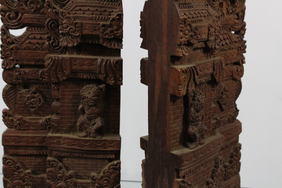 Two Heavy Intricately Carved Teak Wood Tall Elements - 5