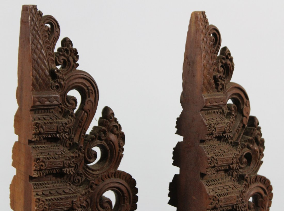 Two Heavy Intricately Carved Teak Wood Tall Elements - 6