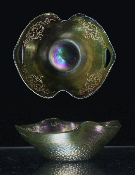 LOETZ GREEN GLASS DOUBLE HANDLED BOWL SILVER OVERLAY