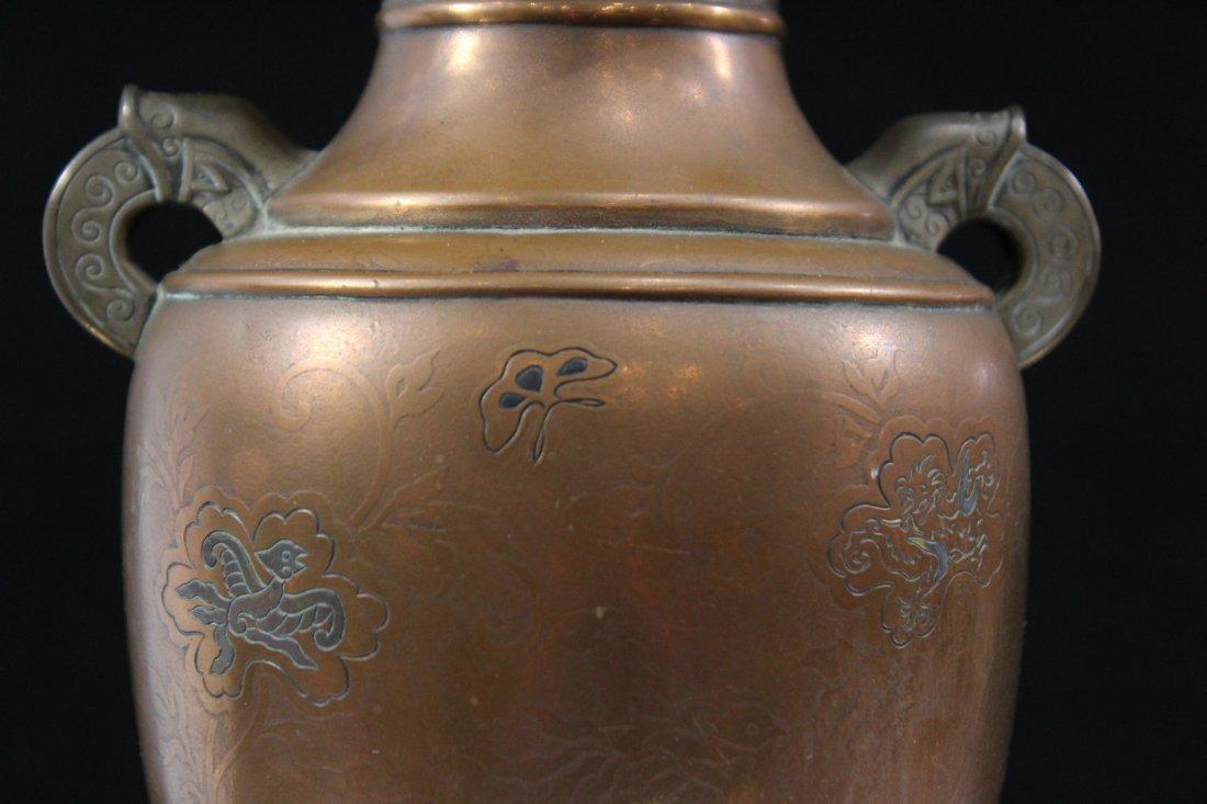 Antique JAPANESE BRONZE VASE SILVER INLAY, BASE SIGNED - 3