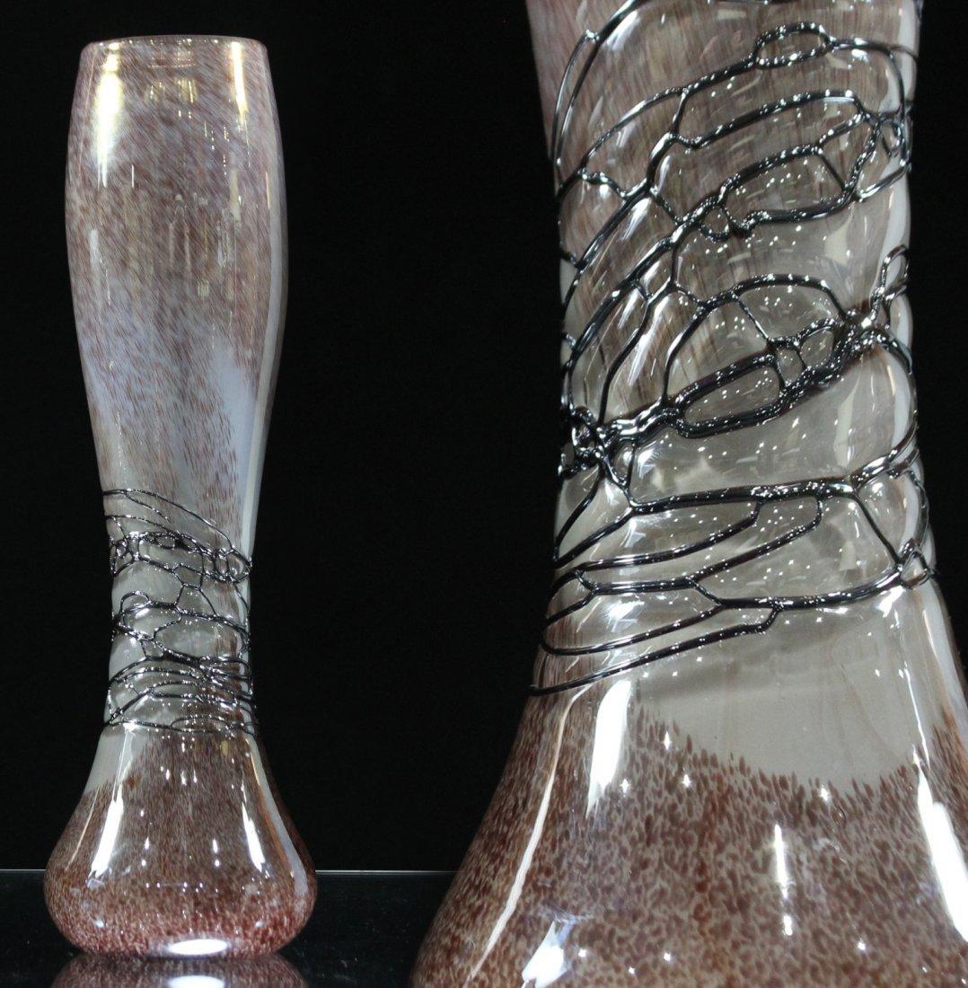 Superb STUDIO ART GLASS TALL VASE SPUN THREAD DECORATED