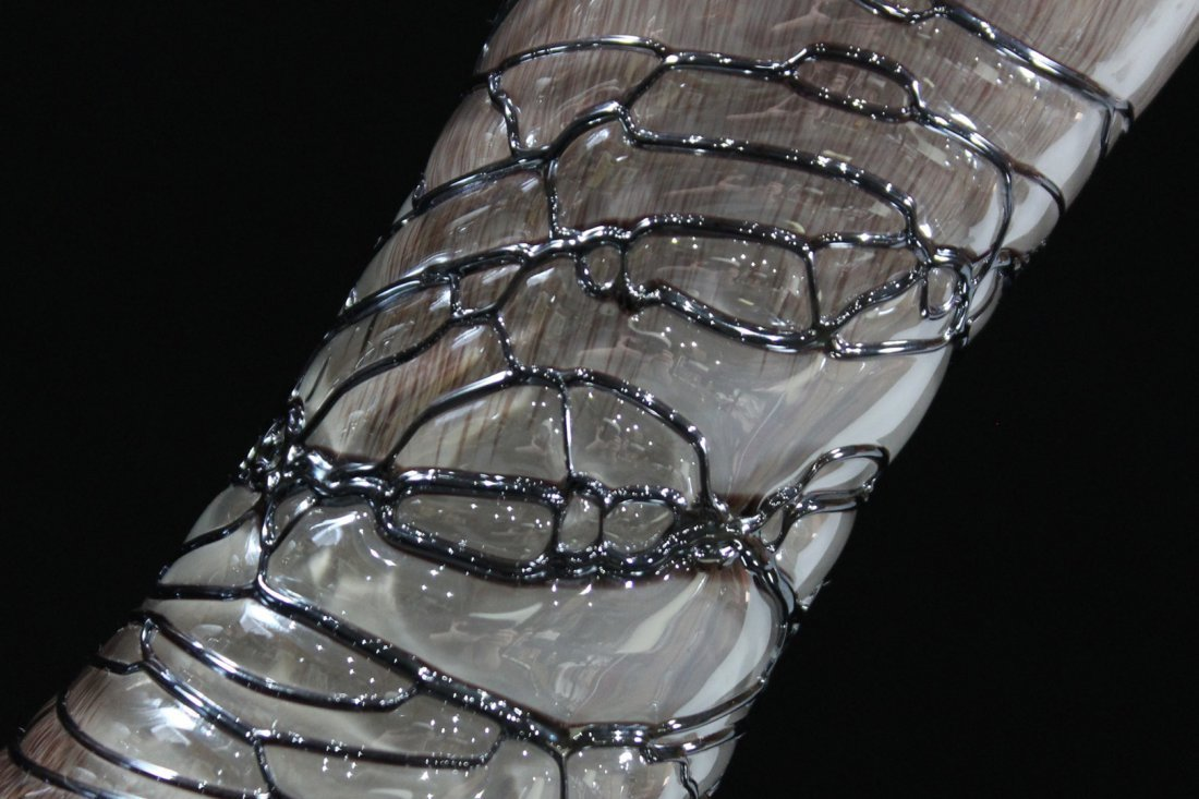 Superb STUDIO ART GLASS TALL VASE SPUN THREAD DECORATED - 4