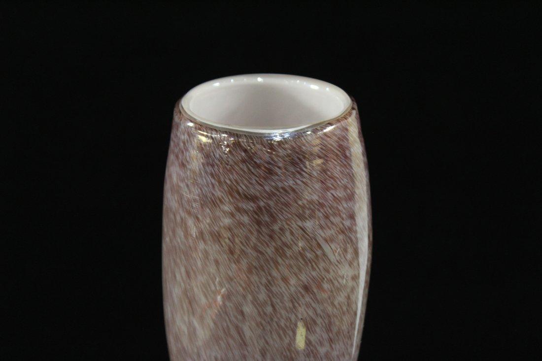 Superb STUDIO ART GLASS TALL VASE SPUN THREAD DECORATED - 5