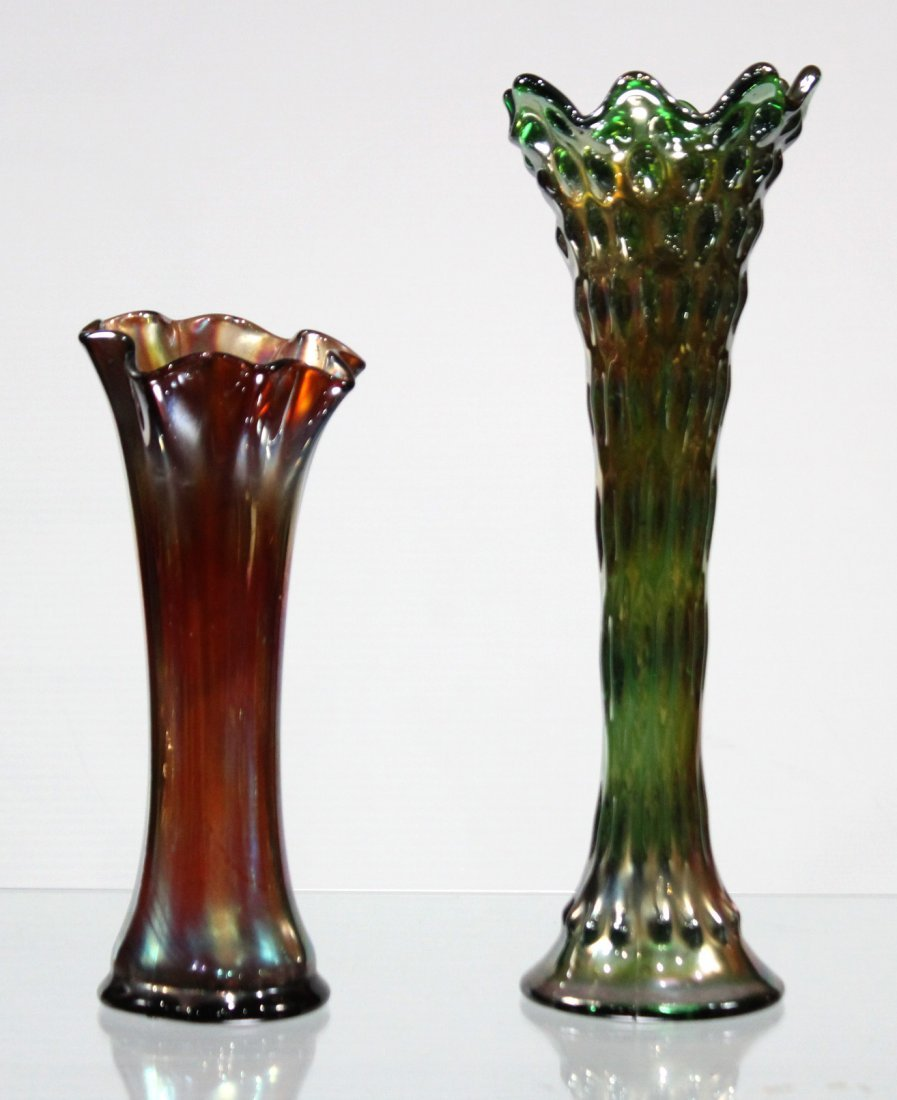 TWO [2] FENTON CARNIVAL GLASS TALL FLUTED TOP VASES