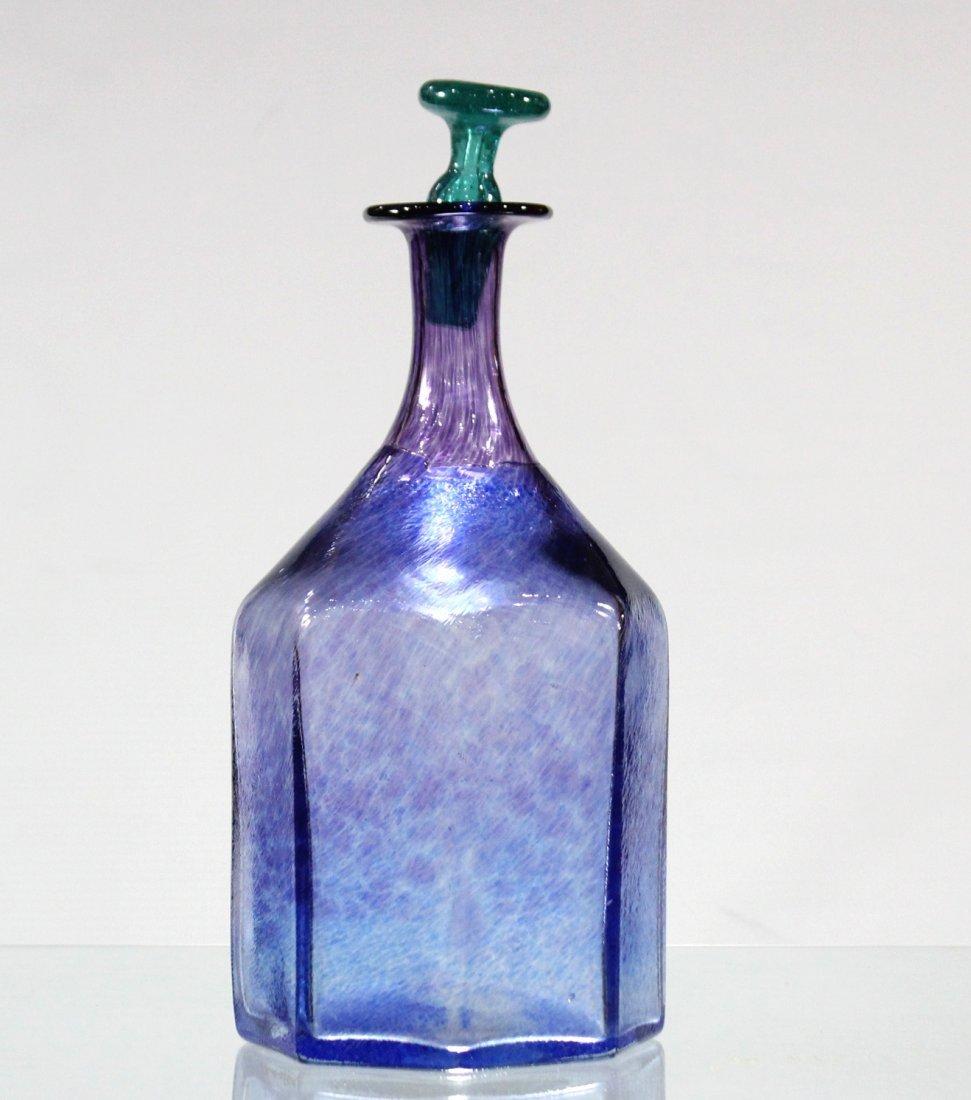 Mid Century Italian Art Glass Bottle W/ Stopper Signed