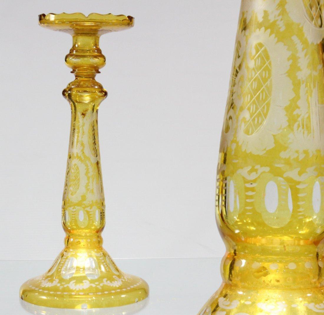 Antique YELLOW BOHEMIAN GLASS TALL CANDLESTICK