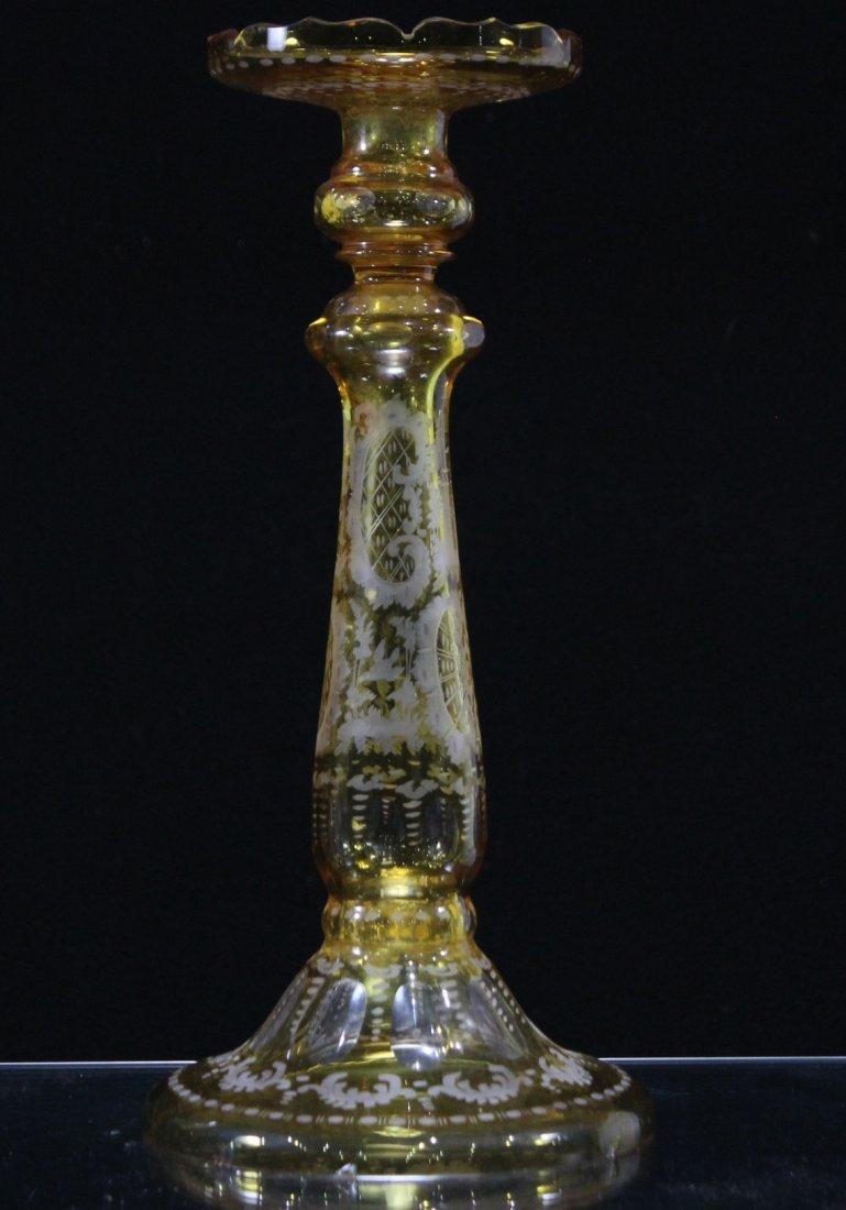 Antique YELLOW BOHEMIAN GLASS TALL CANDLESTICK - 5