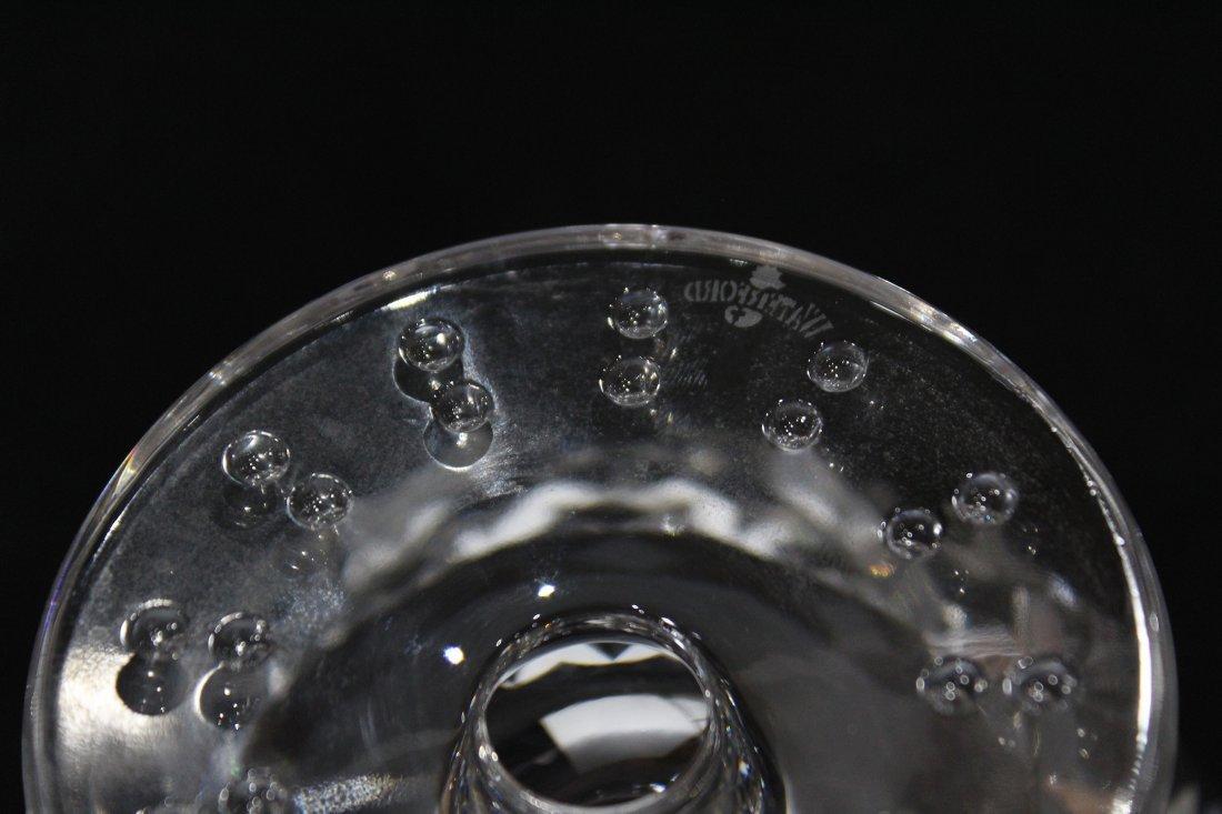 Signed WATERFORD CRYSTAL VASE ON PEDESTAL BASE - 3